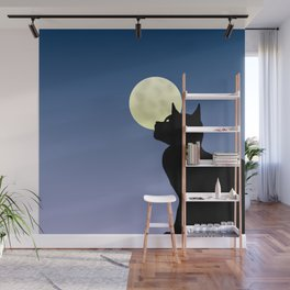 Moon and black cat Wall Mural