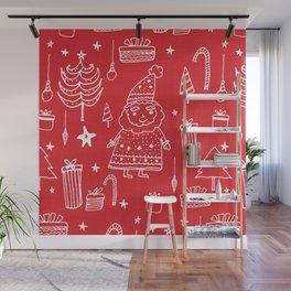 Santa Workshop Red Wall Mural