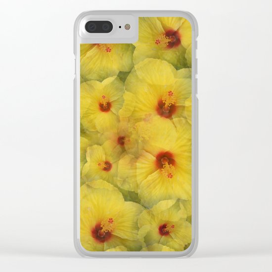 Yellow Hibiscus Clear iPhone Case