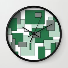 Squares - gray, green and white. Wall Clock