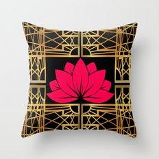 Art Deco Retro Lotus (amaranth-black) Throw Pillow