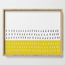 Black & white rain on yellow Serving Tray