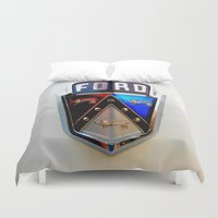 ford Duvet Covers featuring Ford Crest by Dragons Laire