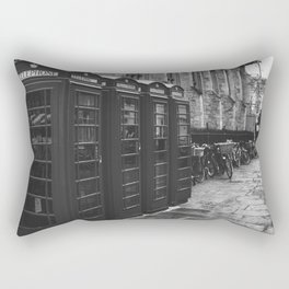 GRAYSCALE PHOTO OF FOUR TELEPHONE BOOTHS LINED UP Rectangular Pillow