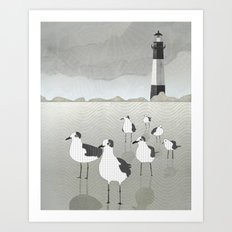 Seagulls Lighthouse Art Print