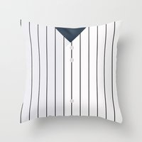 yankees Throw Pillows featuring Baseball - NY Yankees by ziwei tan