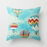 hot air balloons Throw Pillows featuring Hot Air Balloons 1 by Music of the Heart