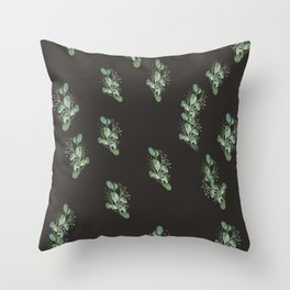 Eucalyptus Sprig on Black Throw Pillow