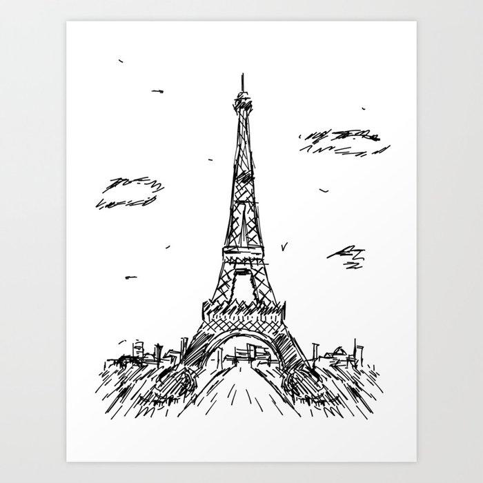 Paris eiffel tower drawing art print by pda86 society6 paris eiffel tower drawing art print thecheapjerseys Gallery