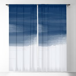 Blue abstract brush strokes pattern Blackout Curtain