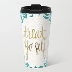 Treat Yo Self – Gold & Turquoise Travel Mug