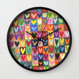 Many hearts and colours Wall Clock