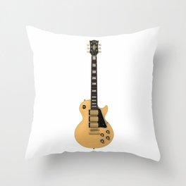 Tan Electric Guitar Throw Pillow