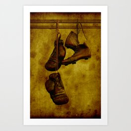 Vintage boxing gloves and shoes Art Print