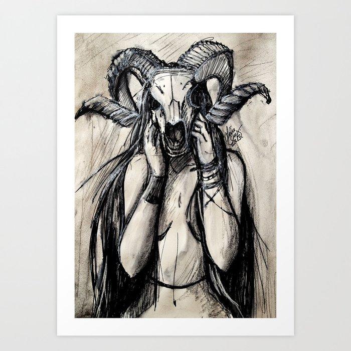Viola the Ram Woman Art Print