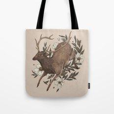 Floral Elk Tote Bag