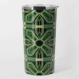 Art Deco Floral Tiles in Emerald Green and Faux Gold Travel Mug