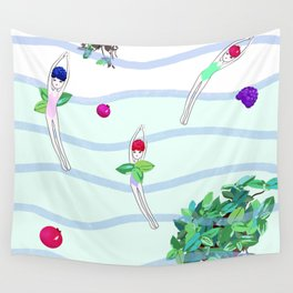 berry diver, summer, fun Wall Tapestry