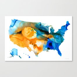 United States Map - America Map 9 - By Sharon Cummings Canvas Print