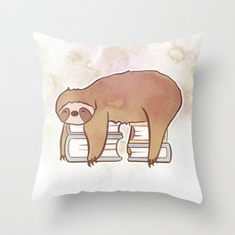 SLOTH READS Throw Pillow