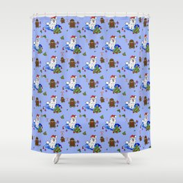 Santa Paws Holiday Samoyed Pattern Shower Curtain