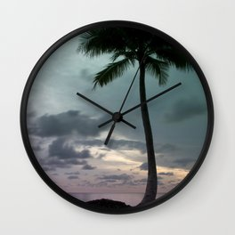 Palm tree with Retro summer filter effect Wall Clock