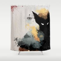 water colour Shower Curtains featuring Wolvie Water Colour by Scofield Designs