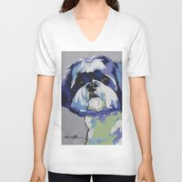 shih tzu V-neck T-shirts featuring Shih Tzu Pop Art Pet Portrait by Karren Garces Pet Art