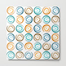 Contemporary Abstract Art Paint Swash Circles in Modern Orange Teal Blue and Brown Metal Print