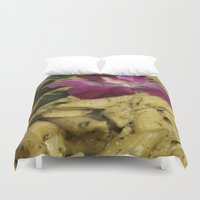 pasta Duvet Covers featuring Penne Pasta Dish by BravuraMedia