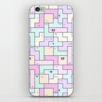 tetris iPhone & iPod Skins featuring Kawaii Tetris by KiraKiraDoodles