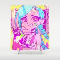league of legends Shower Curtains featuring League of Legends - Jinx kaboom by tcbunny