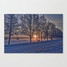 Sunset in Rovaniemi. Canvas Print