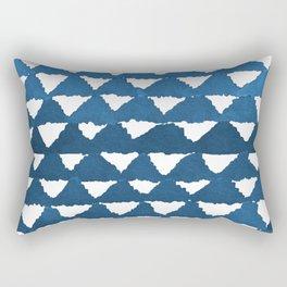 Indigo Triangle Mountains Pattern Rectangular Pillow