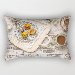 Tea cups and fruit tarts Rectangular Pillow