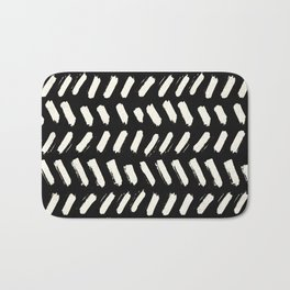 Tribal Dance Dot - Ivory on Black Bath Mat