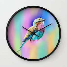 Lilac Breasted Roller Pastel Watercolor Wall Clock