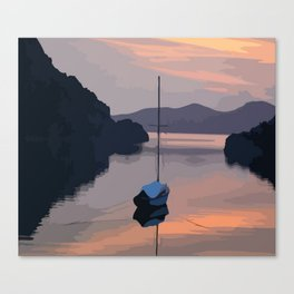 Boat At Bozburun At Sunset Vector Image Canvas Print