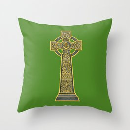 Celtic Cross with Harp Throw Pillow