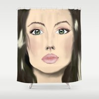 angelina jolie Shower Curtains featuring jolie by ART-is-TRY