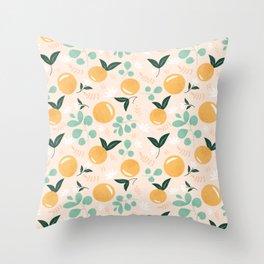 Floridian Orange Floral Throw Pillow