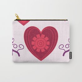 Pink hearts pasley pattern Carry-All Pouch