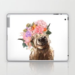 Highland Cow with Flower Crown Laptop & iPad Skin