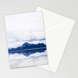 Navy blue Mountains Against Lake With Clouds Stationery Cards