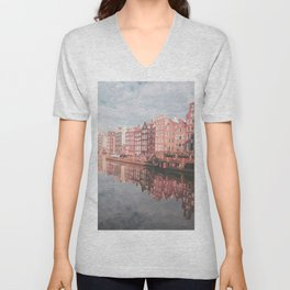 Colourful Amsterdam City in The Netherlands | Travel Photography Unisex V-Neck