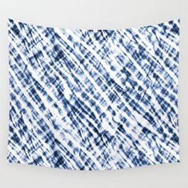 Tie Dye Criss-Cross Design in Indigo Blue and White Wall Tapestry