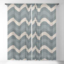 Blue Willow Green & Alpaca Wool Cream Wavy Horizontal Stripes on Night Watch Green Sheer Curtain
