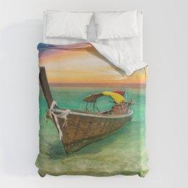 Longboat Sunset Thailand Duvet Cover
