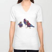 takmaj V-neck T-shirts featuring Ugly birds by takmaj