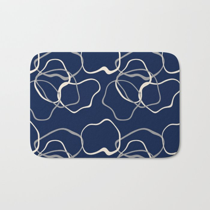 lignes bleues courbes Bath Mat